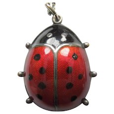 David-Andersen Sterling Silver Guilloche Enamel Ladybug Pendant with 830S Silver Necklace Chain