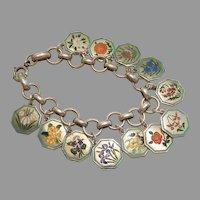 TLM Thomas L Mott Flower of the Month Sterling Silver and Enamel Charm Bracelet