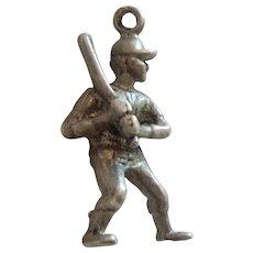 Sterling Silver 3D Baseball Player Batter Sports Charm