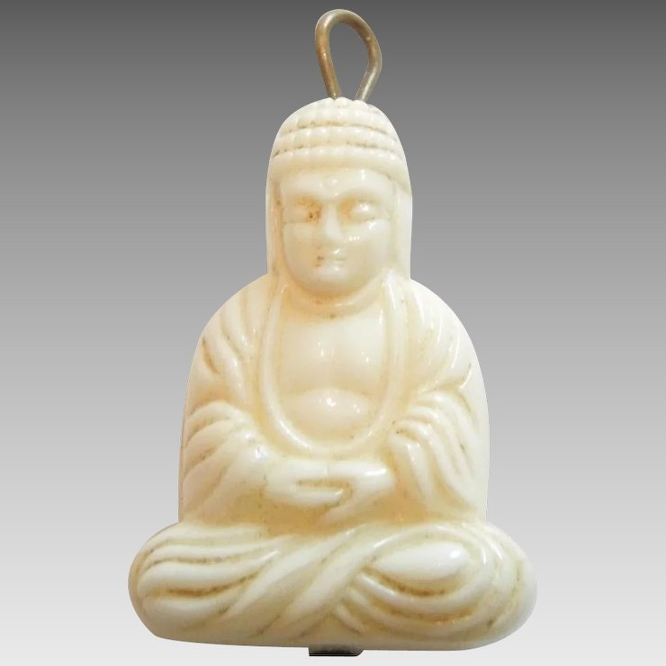 Vintage faux ivory buddha charm or pendant the big o ruby lane vintage faux ivory buddha charm or pendant mozeypictures Images