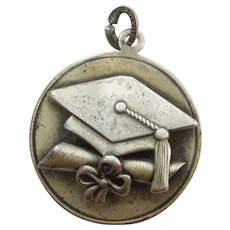 Beau Sterling Silver Graduation Charm with Mortarboard Cap and Diploma