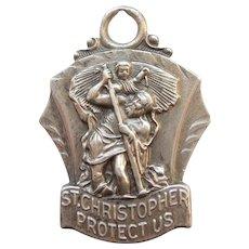 Large St. Christopher Sterling Silver Pendant / Charm / Medal - Hayward