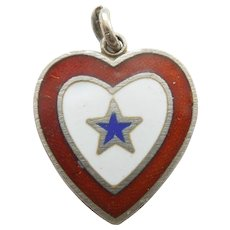Son-in-Service WW2 Sterling Silver and Enamel Heart Charm - Patriotic, Military