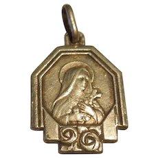 'Little Flower' Vintage St Therese of Lisieux France Religious Charm / Pendant / Medal (Saint Teresa, Theresa)