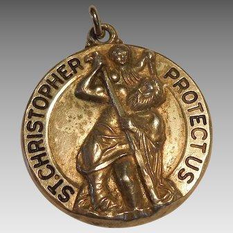 Larger Sterling Silver St. Christopher Religious Medal / Pendant / Charm - M de Jean