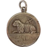 Saint John the Baptist and Lamb of God /Agnus Dei Charm / Pendant / Baptism Medal - French Silver 1905
