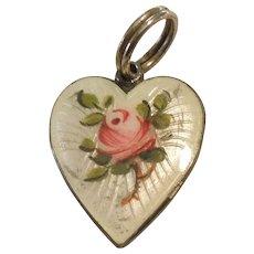 Scandinavian Sterling Silver and White Guilloche Enamel Pink Rose Heart Charm / Pendant