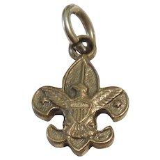 Sterling Silver Fleur-de-lys / Eagle Boy Scout Emblem Charm