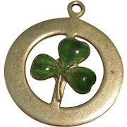 Three-leaf Clover or Shamrock Sterling Silver and Green Guilloche Enamel Charm - Irish, St. Patrick's Day