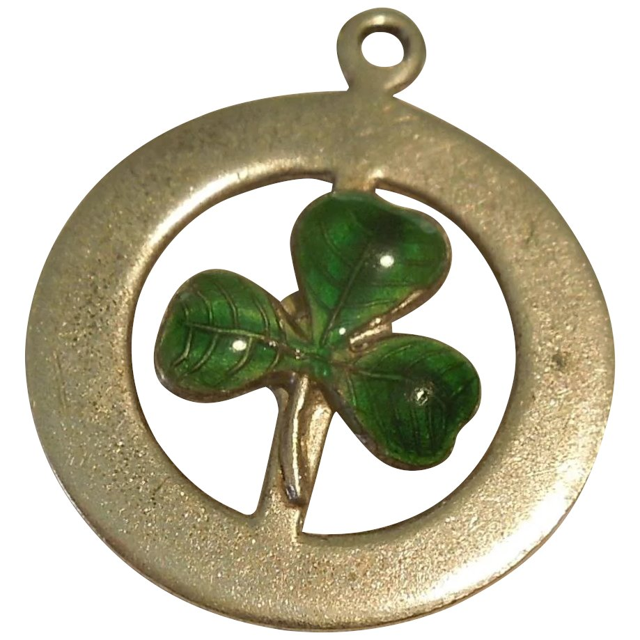 Three Leaf Clover Or Shamrock Sterling Silver And Green Guilloche