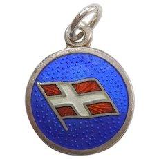 Nordic Cross Flag for Denmark - Sterling Silver and Guilloche Enamel Charm
