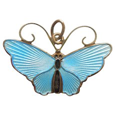 David-Andersen Sterling Silver and Blue Guilloche Enamel Butterfly Charm / Pendant