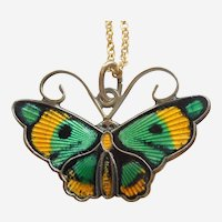 David-Andersen Sterling Silver and GREEN and YELLOW Guilloche Enamel Butterfly Charm / Pendant with Necklace Chain