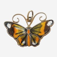 D-A David-Andersen Sterling Silver and Guilloche Enamel Monarch Butterfly Charm / Pendant