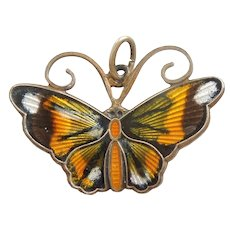 David-Andersen Sterling Silver and Guilloche Enamel Monarch Butterfly Charm / Pendant