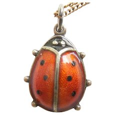David-Andersen Sterling Silver Guilloche Enamel Ladybug Charm / Pendant and GF Necklace Chain