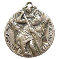 St. Christopher Sterling Silver Pendant / Charm / Medal - Hayward - 11/16''