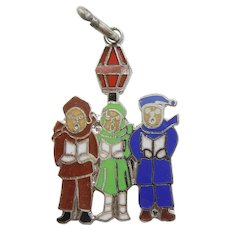 Christmas Carolers Sterling Silver and Enamel Charm