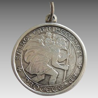 Charles Thomae Sterling Silver St. Saint Christopher Pendant / Charm / Medal - Engraved 'Susie'