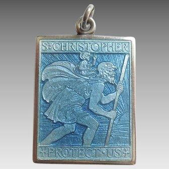 Charles Thomae Sterling Silver and Blue Guilloche Enamel St. Christopher Medal / Pendant / Charm - Rectangular