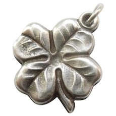 Vintage Sterling Silver Puffy Lucky Four Leaf Clover Charm - Good Luck