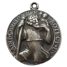 Large Thomae Sterling Silver St. Christopher Pendant / Charm - Engraved 'Forever'
