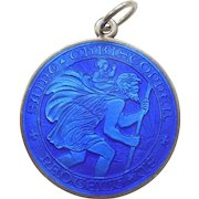 Largest Charles Thomae Sterling Silver and Blue Guilloche Enamel St. Christopher Medal / Pendant / Charm