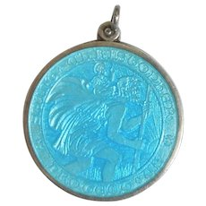 Vintage religious medals ruby lane large charles thomae sterling silver and turquoise blue guilloche enamel st christopher medal pendant aloadofball Choice Image