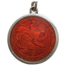 Charles Thomae Smaller Sterling Silver and Red Guilloche Enamel St. Christopher Medal / Pendant / Charm