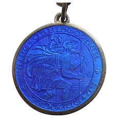 Charles Thomae Sterling Silver and Blue Guilloche Enamel St. Christopher Medal / Pendant / Charm
