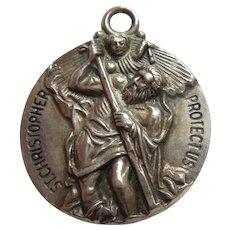 St. Christopher Larger Sterling Silver Pendant / Charm / Medal - Hayward