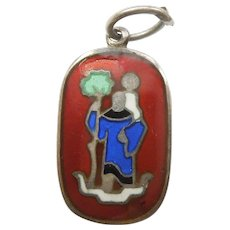 Rare David-Andersen Norway St. Christopher Sterling Silver and Enamel Charm / Pendant / Medal