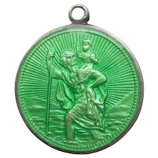 Sterling Silver and Green Guilloche Enamel St. Christopher Medal / Pendant / Charm