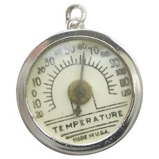 Sterling Silver Working Thermometer TEMPERATURE 3D Charm or Pendant - Wells Tophat