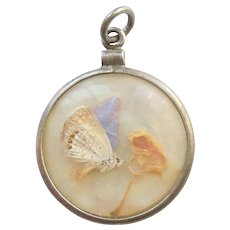 Vintage Butterfly Moth Butterflies Under Glass Double-sided Photo Frame Bubble Charm / Pendant