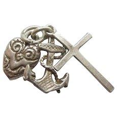 Faith Hope Charity Vintage Charm - Cross Anchor Heart