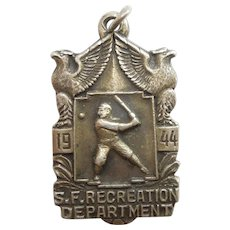 Baseball San Francisco Recreation Dept 1944 Sports Medal / Charm / Fob / Pendant