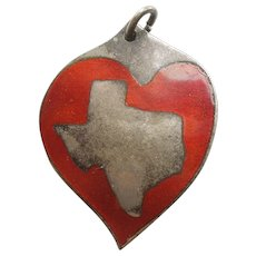 JOHN SZYMAK Modernist Sterling Silver and Red Enamel TEXAS Heart Pendant or Charm