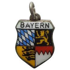 Bayern Bavaria Germany Vintage Enamel and 800 Silver Souvenir Travel Shield Charm