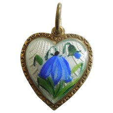 David-Andersen Sterling Silver Guilloche Enamel Heart Charm or Pendant with Bluebell Flowers