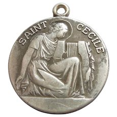 St. Cecile / Cecilia Patron Saint of Musicians Sterling Silver Religious Charm / Medal / Pendant - Antaya - Musical Instrument Lyre