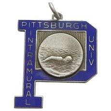 University of Pittsburgh, PA Pennsylvania Sterling Silver and Blue Enamel Intramural Swimming Charm / Medal - 1955