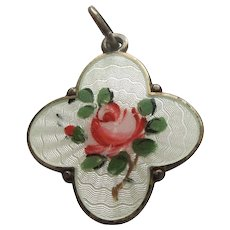 David-Andersen Sterling Silver Guilloche Enamel Cruciform Shape Charm or Pendant with Rose Flower