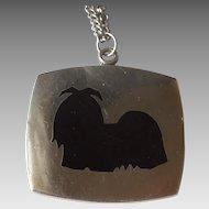Black Enamel Lhasa Apso / Shih Tzu Dog Pendant - Meka Denmark - 29'' Sterling Silver Necklace Chain