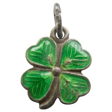 Tiny German 835 Silver and Green Enamel Lucky Four-leaf Clover Charm