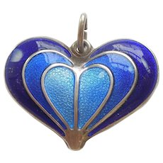 David-Andersen Sterling Silver and Blue Guilloche Enamel Heart Pendant / Charm