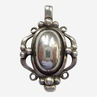 Georg Jensen Denmark 1989 Sterling Silver Heritage Pendant of the Year with Silver Stone