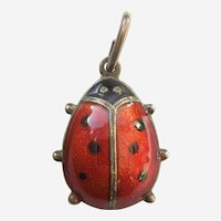 DA David-Andersen Sterling Silver Guilloche Enamel Ladybug Small Charm / Pendant
