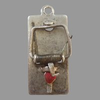 Mechanical Mousetrap Sterling Silver Charm with Red Enamel Heart