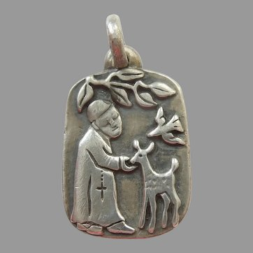 St. Francis of Assisi with the Animals - Smaller James Avery Retired Sterling Silver Charm / Pendant / Medal